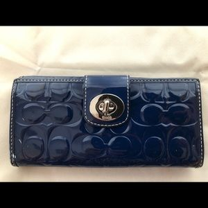 Coach Navy Blue Patent Leather Signature Wallet